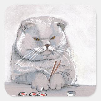 Sushi Cat Mr. Grumps ©CSiravo Square Sticker