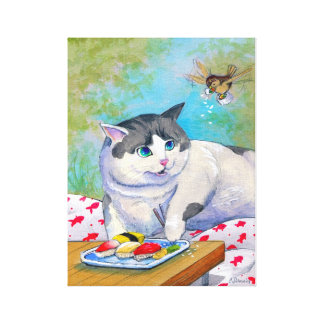 Sushi Cat Picnic Suprise Wrapped Canvas