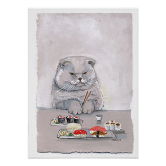 Sushi Cat Print - Mr Grumps