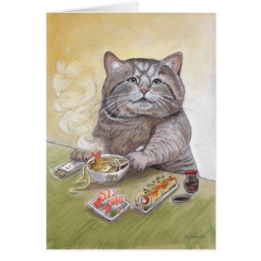 Sushi Cat Tempura Udon Greeting Card