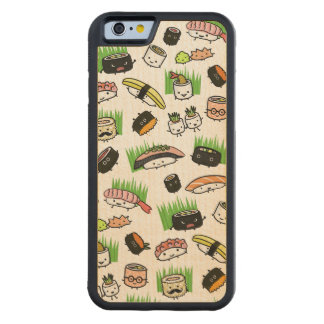 Sushi Characters Pattern Carved® Maple iPhone 6 Bumper Case