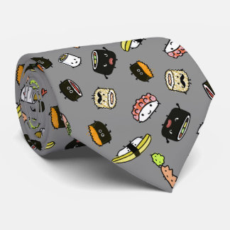 Sushi Characters Pattern Neck Tie
