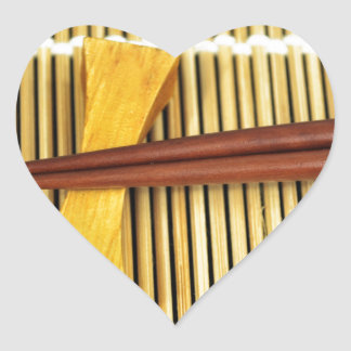 Sushi Chopsticks Sensei Masters Wood Bamboo Heart Sticker
