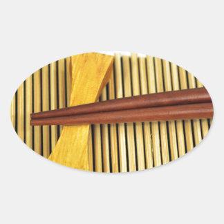 Sushi Chopsticks Sensei Masters Wood Bamboo Oval Sticker