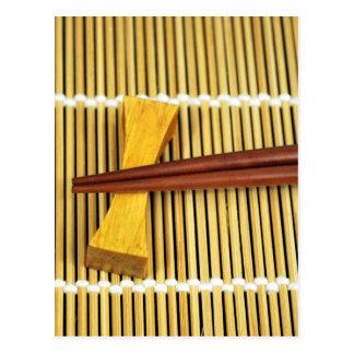 Sushi Chopsticks Sensei Masters Wood Bamboo Postcard