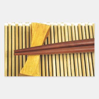 Sushi Chopsticks Sensei Masters Wood Bamboo Rectangular Sticker