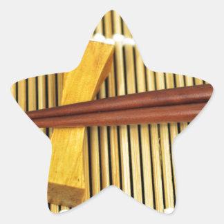 Sushi Chopsticks Sensei Masters Wood Bamboo Star Sticker