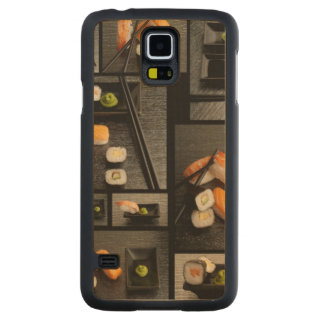 Sushi collection on black background carved® maple galaxy s5 slim case