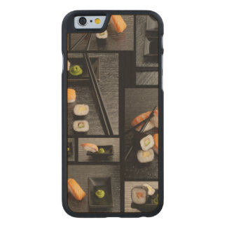 Sushi collection on black background carved® maple iPhone 6 slim case