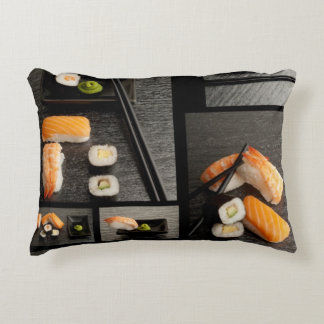 Sushi collection on black background accent pillow