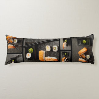 Sushi collection on black background body pillow