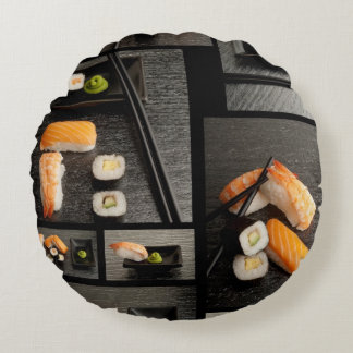 Sushi collection on black background round pillow