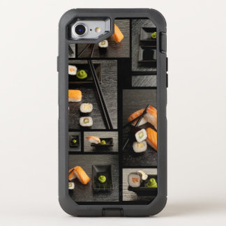 Sushi collection on black background OtterBox defender iPhone 7 case