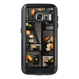 Sushi collection on black background OtterBox samsung galaxy s7 case