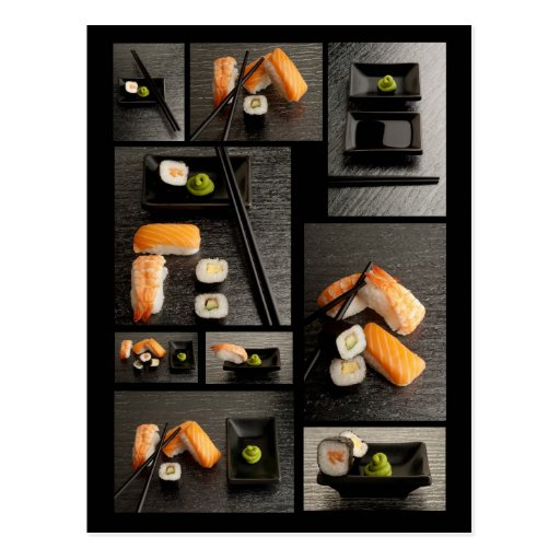Sushi collection on black background postcards