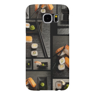 Sushi collection on black background samsung galaxy s6 case