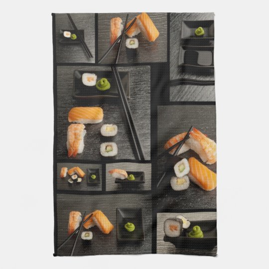 Sushi collection on black background towels