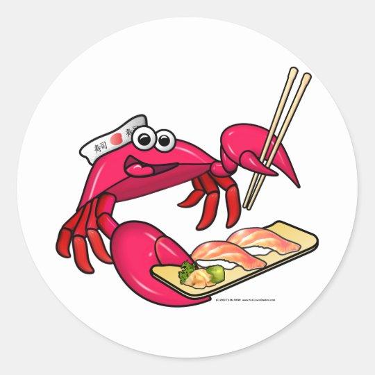 Sushi Crab Classic Round Sticker