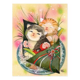 Sushi de Handroll del gatito del navidad Postal