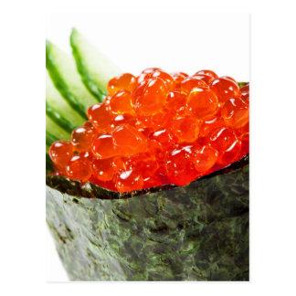 Sushi de Ikura (hueva de color salmón) Gunkan Maki Tarjetas Postales