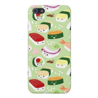 Sushi de Kawaii con las caras iPhone 5 Carcasas