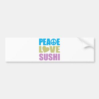 Sushi del amor de la paz etiqueta de parachoque