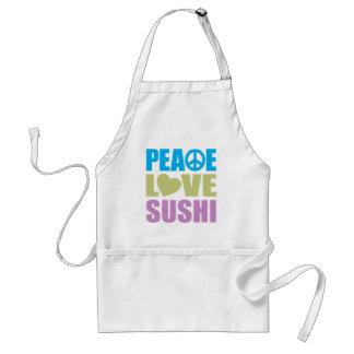 Sushi del amor de la paz delantal
