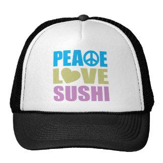 Sushi del amor de la paz gorras de camionero
