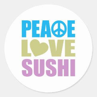 Sushi del amor de la paz etiquetas redondas