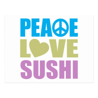 Sushi del amor de la paz tarjeta postal