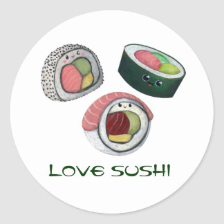 Sushi del amor etiqueta redonda
