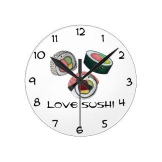 Sushi del amor relojes de pared