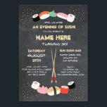 """Sushi Dinner Japanese Birthday Party Bar Invite<br><div class=""""desc"""">Sushi Design. Perfect for any age birthday. Simply change the text to suit your party. Back print included.</div>"""