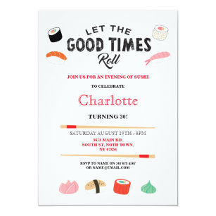 Birthday dinner invitations announcements zazzle sushi dinner lunch japanese birthday party invite stopboris Images