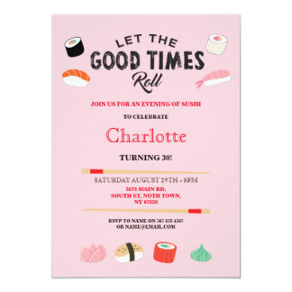 Birthday lunch invitations announcements zazzle sushi dinner lunch japanese birthday party invite stopboris Image collections