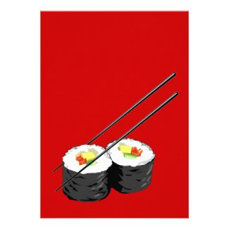 Sushi dinner party invitation