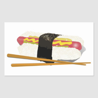 Sushi Dog And Chopsticks Rectangle Stickers