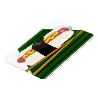 Sushi Dog on a Tray with Chopsticks Magnets