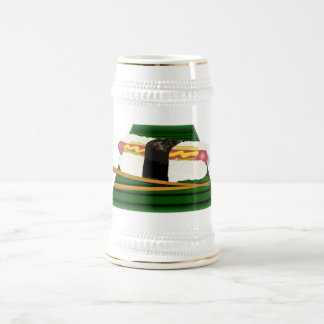 Sushi Dog on a Tray with Chopsticks 18 Oz Beer Stein