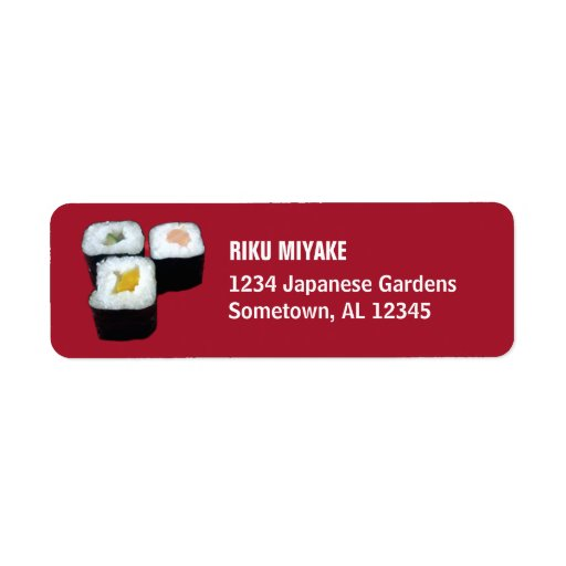 Sushi el   Maki Rolls en etiquetas rojas del remit Etiquetas De Remite