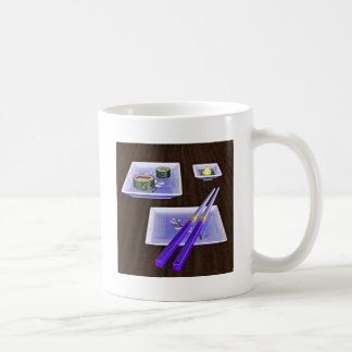 Sushi en azul taza