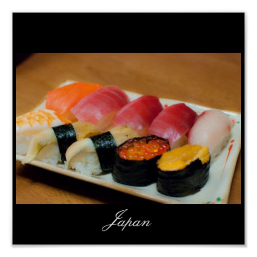 Sushi en el poster de Japón Póster