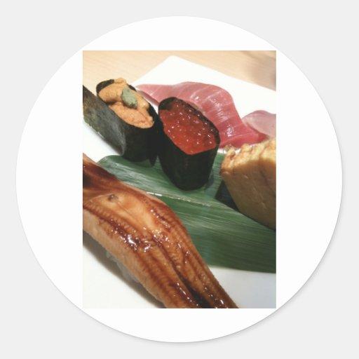 Sushi en Japón Pegatinas Redondas