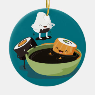 Sushi enjoy bath time funny ceramic ornament