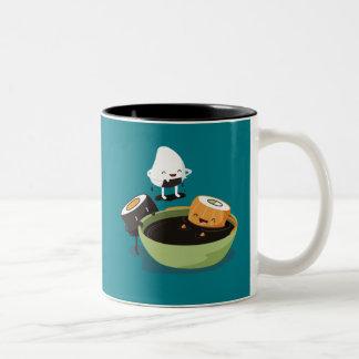 Sushi enjoy bath time funny Two-Tone coffee mug