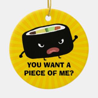 Sushi enojado adorno navideño redondo de cerámica