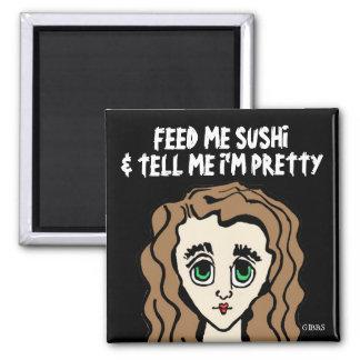 SUSHI fridge magnet, Big Eyed Girl 2 Inch Square Magnet