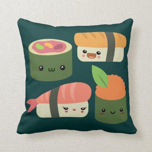 Sushi Friends Throw Pillows
