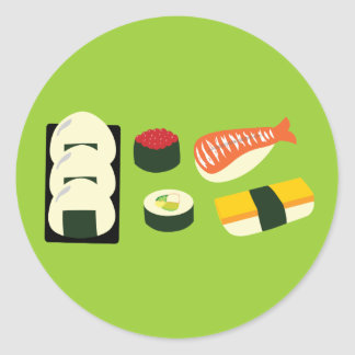 Sushi Fun Round Stickers