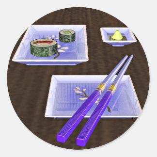 Sushi in Blue Classic Round Sticker
